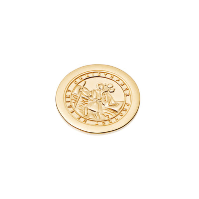 Halo Coin St Christopher - 18ct Gold plate