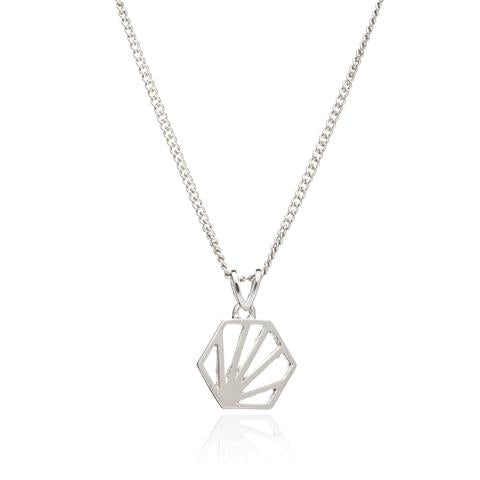 Hexagon Short Sterling Silver Necklace - Rachel Jackson