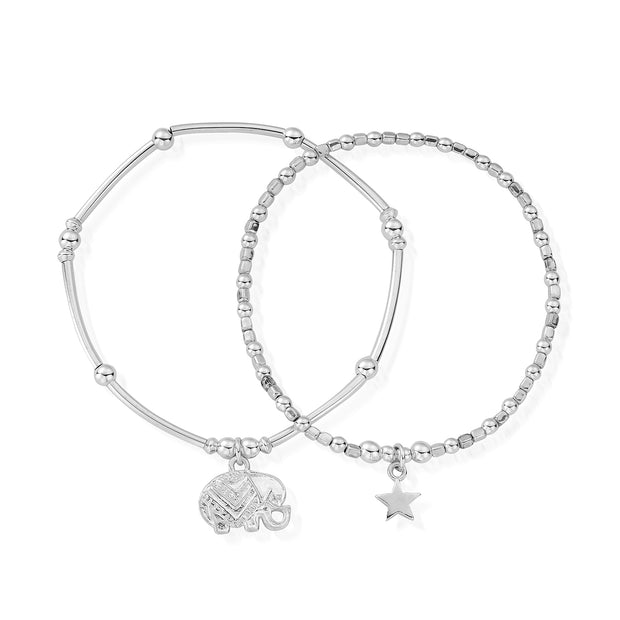 Lucky Set of 2 Iconic Sterling Silver Bracelets - ChloBo