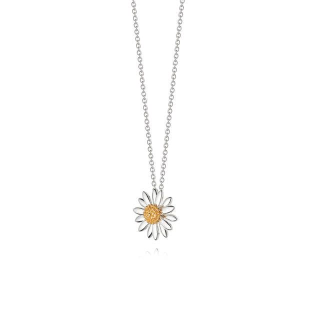 Daisy 15mm Sterling Silver & 18ct Gold Plate Pendant Necklace - Daisy London