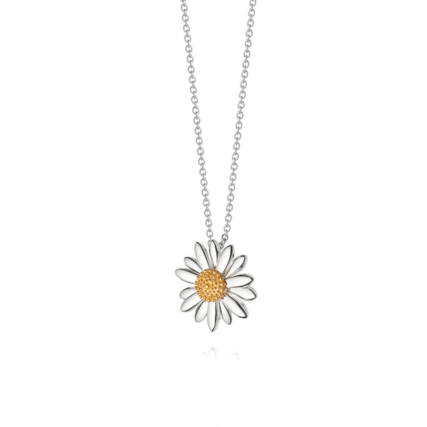 Daisy 18mm Sterling Silver & 18ct Gold Plate Pendant Necklace - Daisy London