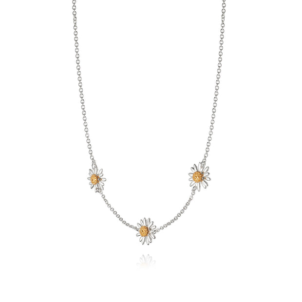 Daisy 10mm Three Daisy Chain Sterling Silver Pendant Necklace - Daisy London