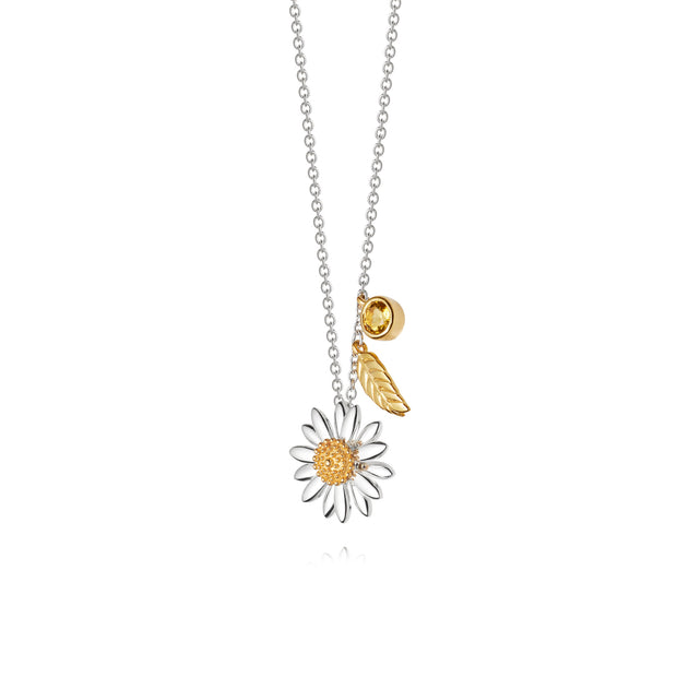 Daisy 15mm feather drop necklace with citrine