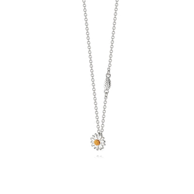 English Daisy & Leaf Pendant