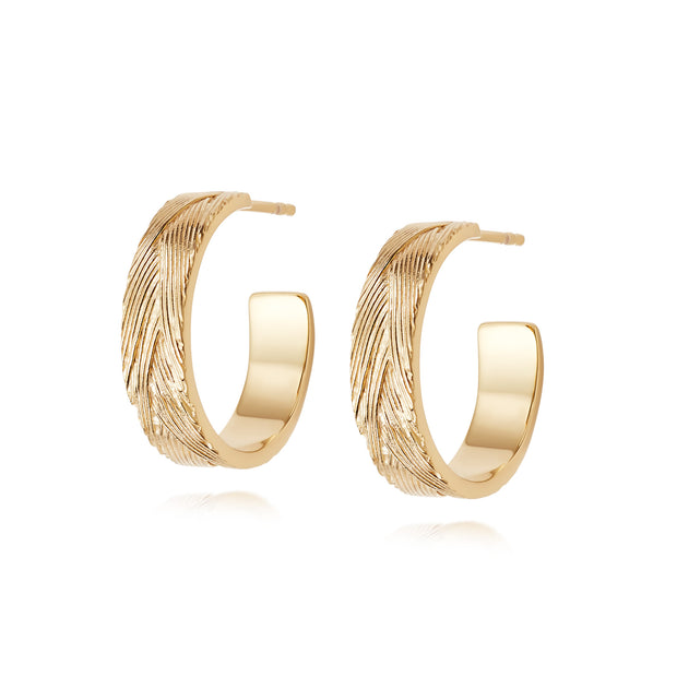 Artisan Weave Nomad Gold Plate Hoop Earrings - Daisy London