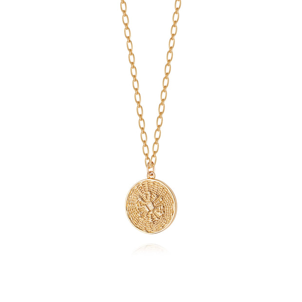 Artisan Weave Disc Nomad Gold Plate Necklace - Daisy London
