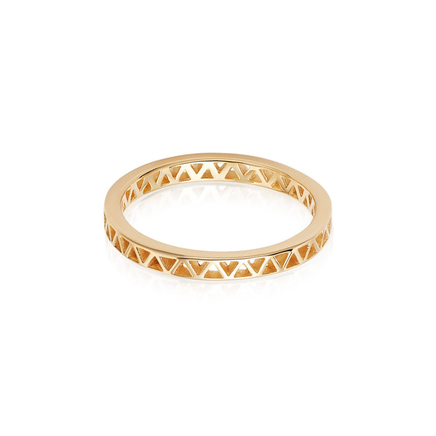 Artisan Nomad Gold Plate Stacking Ring - Daisy London