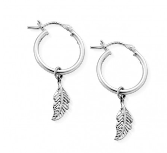 Didi Feather Sterling Silver Hoops - ChloBo