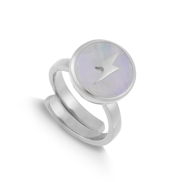 Stellar Midi Lightening Bolt Rainbow Moonstone Adjustable Ring - SVP