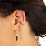 Slim Black Stone 18ct Gold Plated Ear Cuff - Scream Pretty