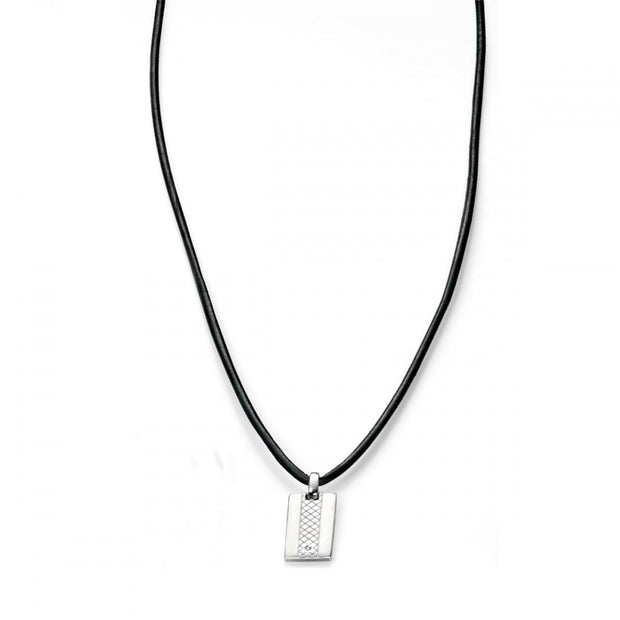 D for Diamond Silver Tag Necklace