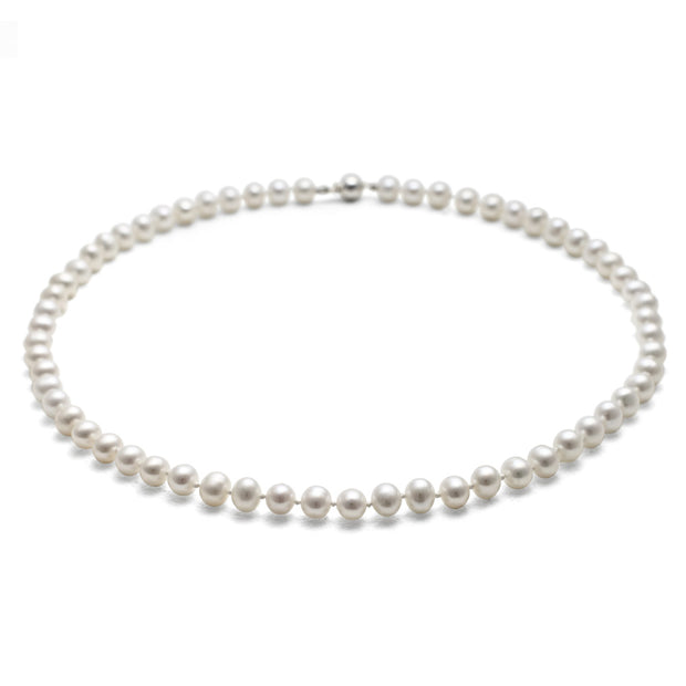 Classic 5mm Semi Round Pearl White Necklace 16""
