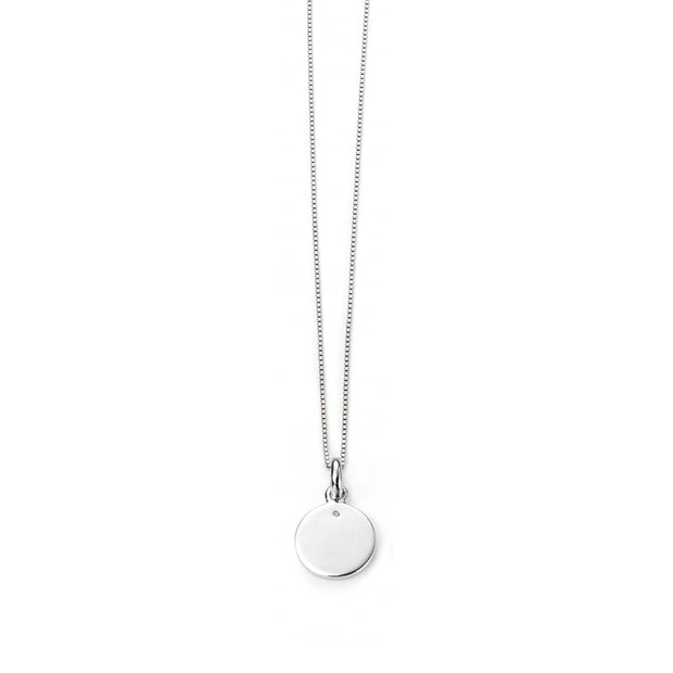 D for Diamond Unisex Silver disc Pendant
