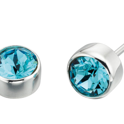 March Birthstone Studs - Aquamarine Swarovski