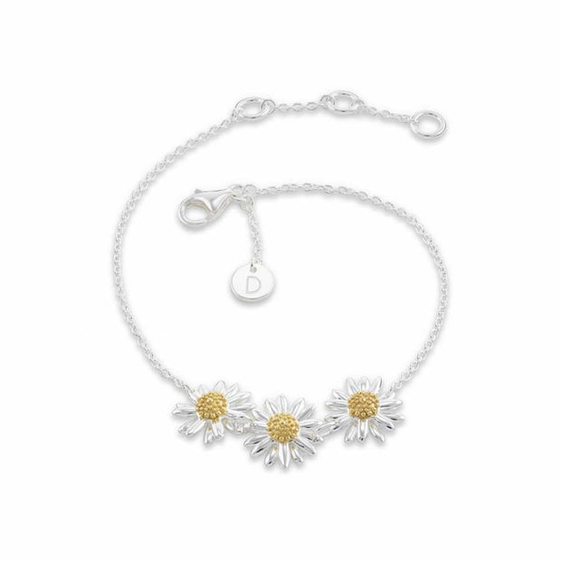 Daisy 10mm Three Daisy Chain Sterling Silver & 18ct Gold Plated Bracelet - Daisy London