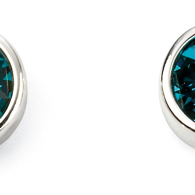 December Birthstone Studs - Blue Zircon