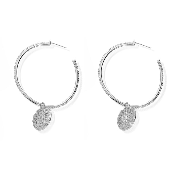 Moon Flower Sterling Silver Hoop Earrings - ChloBo