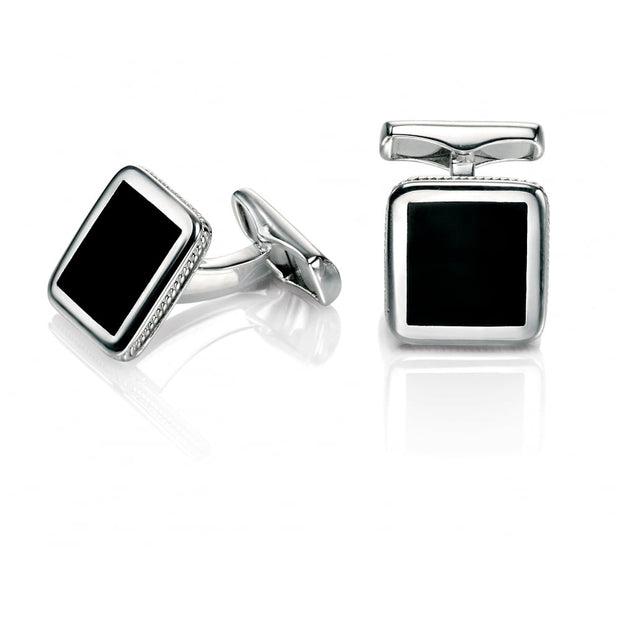 Fred Bennett  Enamel Rectangle Stainless Steel Cufflinks