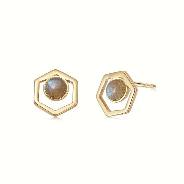 Labradorite Healing Stone 18ct Gold Plated Cut Out Studs - Daisy London