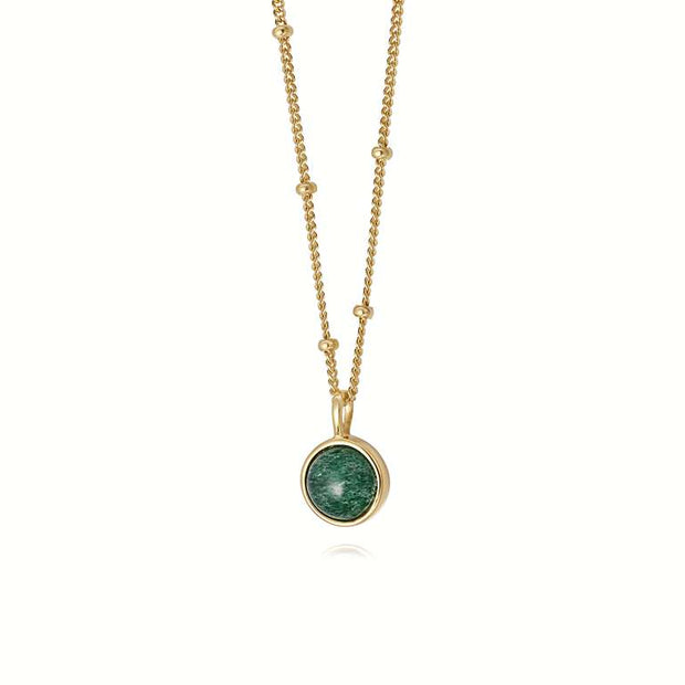 Aventurine Healing Stone 18ct Gold Plate Necklace - Daisy London