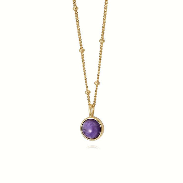 Amethyst Healing Stone 18ct Gold Plated Necklace - Daisy London