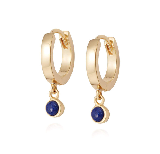 Lapis Healing 18ct Gold Plate Silver Huggie Hoops - Daisy London