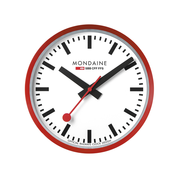 Mondaine Wall Clock Red Frame A990.CLOCK.11SBB