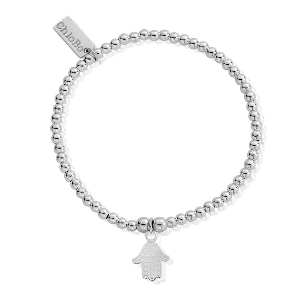 Cute Charm Decorated Hamsa Hand Sterling Silver Bracelet - ChloBo
