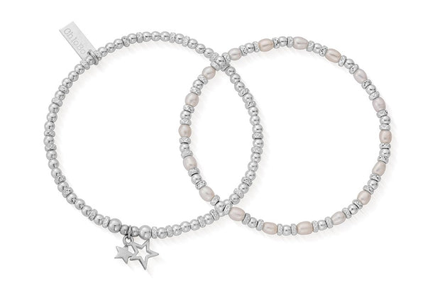 Life Long magic Set of 2 Sterling Silver & Pearl Bracelets - ChloBo