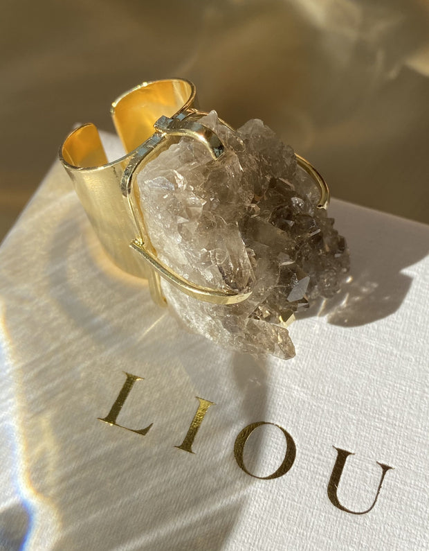 Valentina Crystal Cuff Gold Plated Ring - LIOU