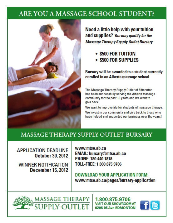 New! Bursary for an Alberta Massage School Student
