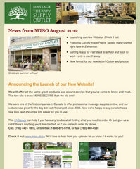 Massage Therapy Supply Outlet August 2012 Newsletter