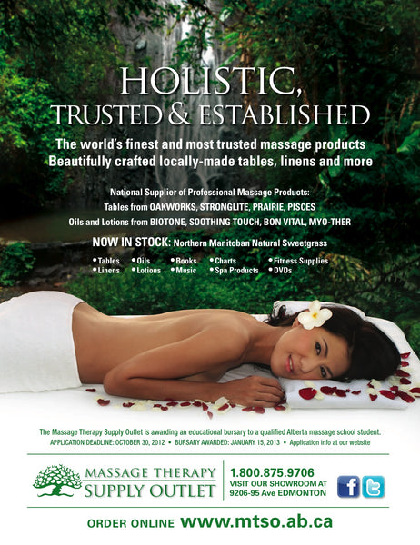 "Massage therapy Supply Outlet ad with text ""Holistic, Trusted & Established"" outlining featured massage producs and suppliers"