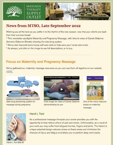 Massage Therapy Supply Outlet Newsletter for September 2012, with focus on maternity and pregnancy massage