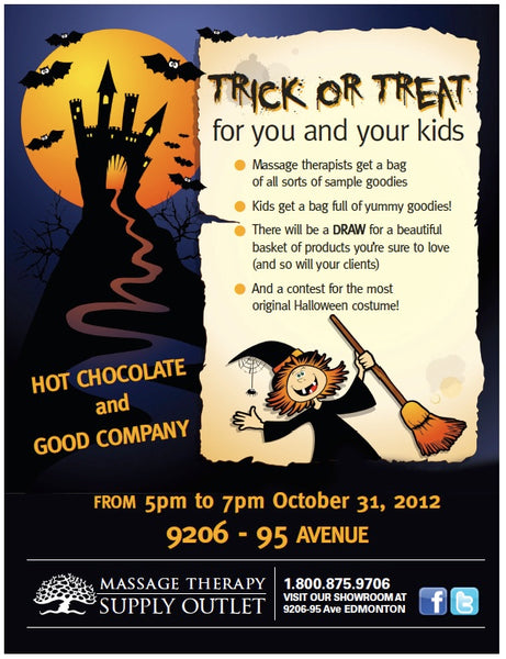 Halloween event at Massage Therapy Supply Outlet, trick or treat for you and your kids, with hot chocolate, costumes and goodies.