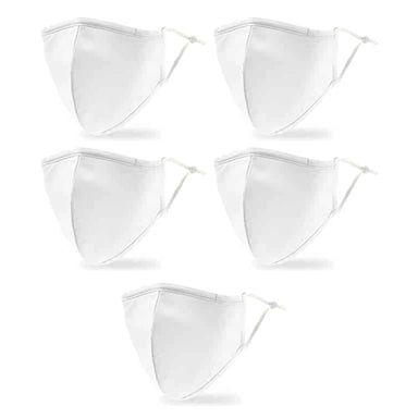 5 Pack: White Environmentally Friendly Reusable 3-ply Face Mask