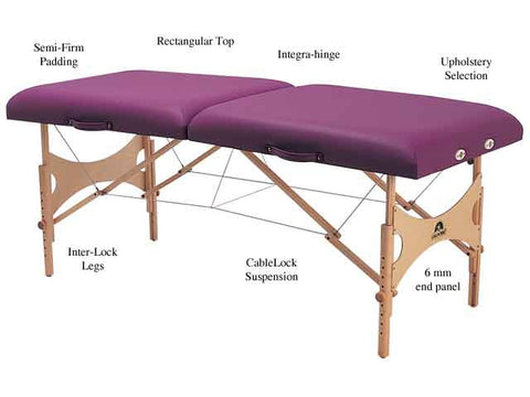 Massage Tables - Oakworks Aurora strong lightweight wood massage table.