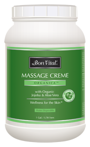 organica massage creme from Bon Vital, gallon size