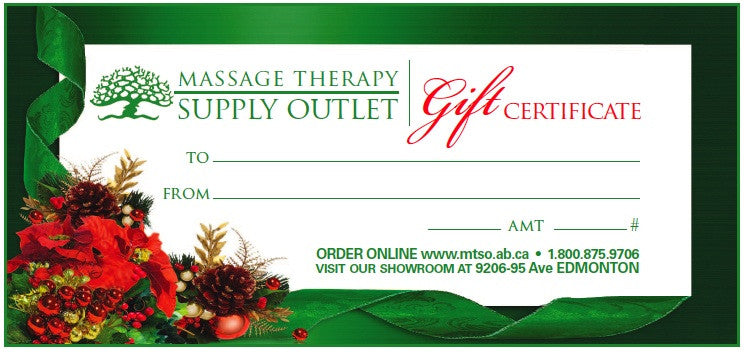 Christmas Gift Certificate for Our Massage Therapy Supplies