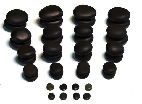 40 piece hot stone massage set - various shapes and sizes of basalt stones