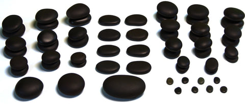 59 piece stone massage set - basalt stones in various shapes and sizes for hot stone massage
