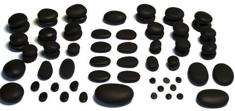 71 piece hot stone massage set - various sizes and shapes of black basalt stones