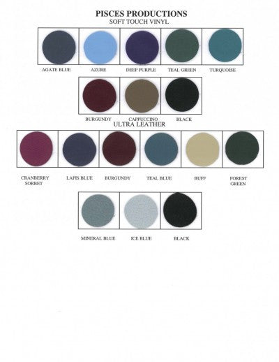 Vinyl upholstery colours for the Pisces new wave II lite massage table