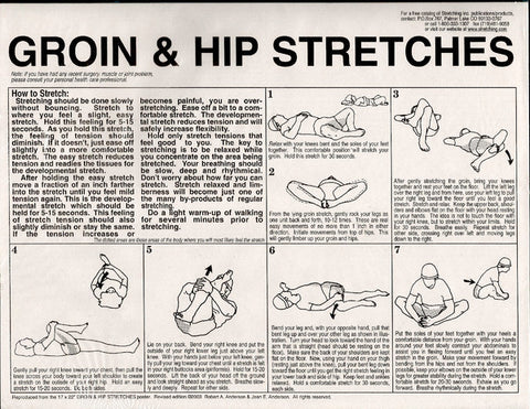 groin and hip stretches - instruction sheet from Activetics