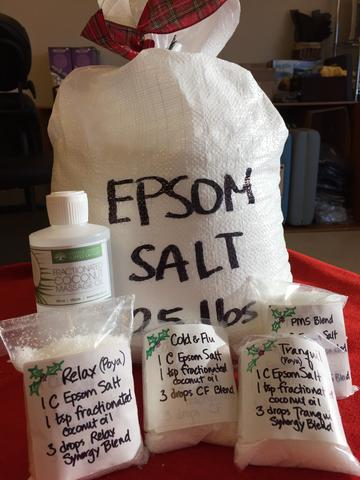 EPSOM SALT 25 LB with suggested essential oil blends