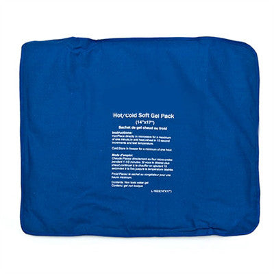 "Hot/Cold Soft Gel Pack 14"" x 17"" for rapid pain relief, flexible strong cloth cover"