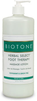 Herbal select foot therapy massage lotion from Biotone - 32 oz size