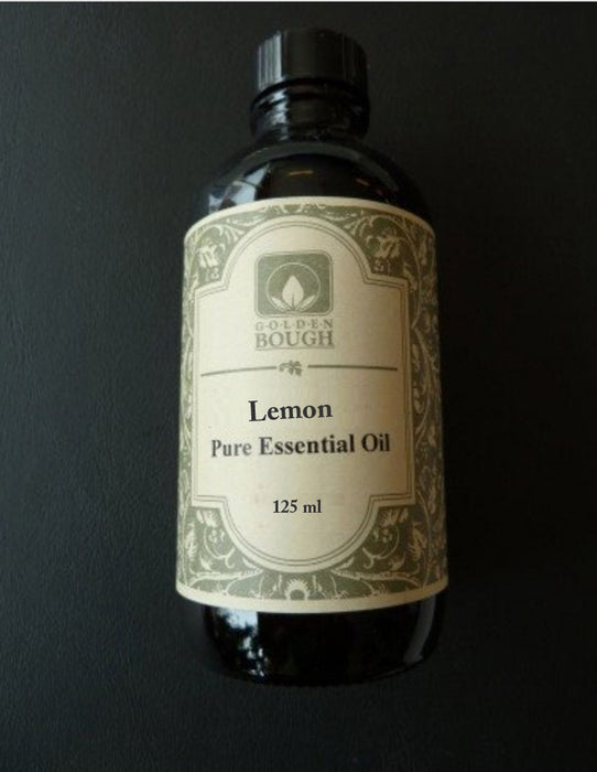 pure lemon essential oil 125 ml in brown glass bottle