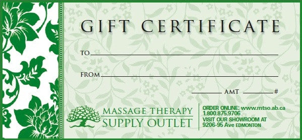Gift Certificate for Our Massage Therapy Supplies