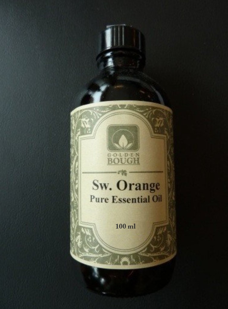 pure natural sweet orange essential oil in brown glass container, 100 ml